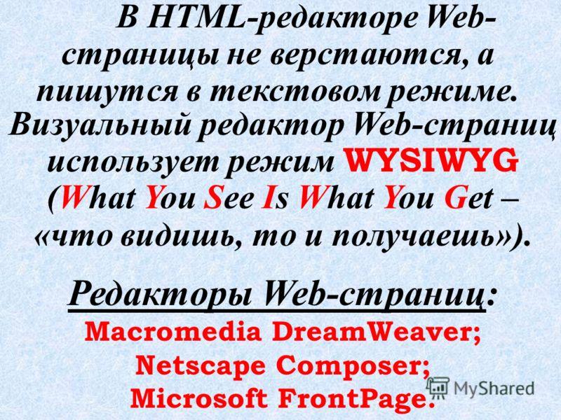 Визуальный редактор Web-сайтов Microsoft FrontPage