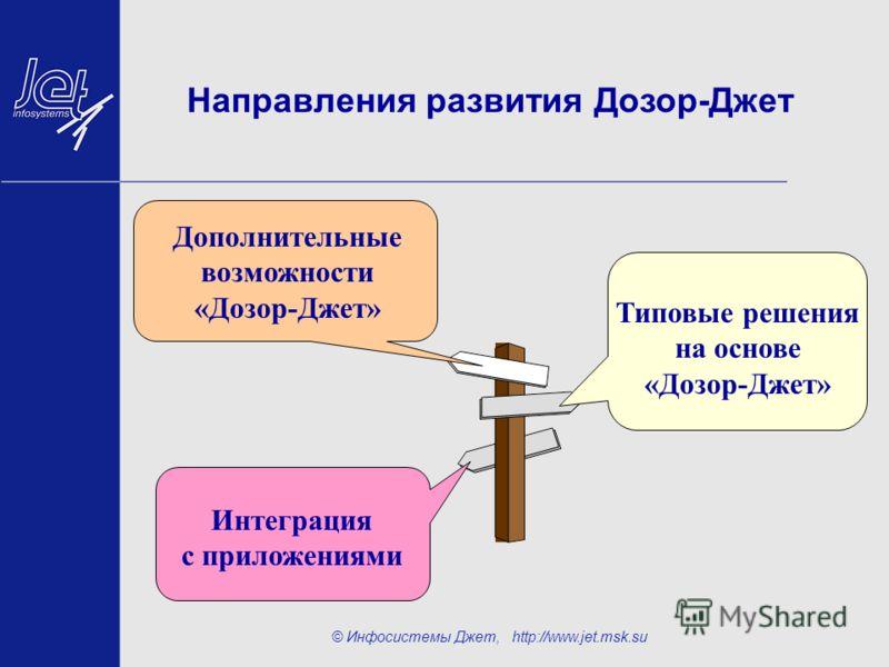 © Инфосистемы Джет, http://www.jet.msk.su Направления развития Дозор-Джет Типовые решения на основе «Дозор-Джет» Интеграция с приложениями Дополнительные возможности «Дозор-Джет»
