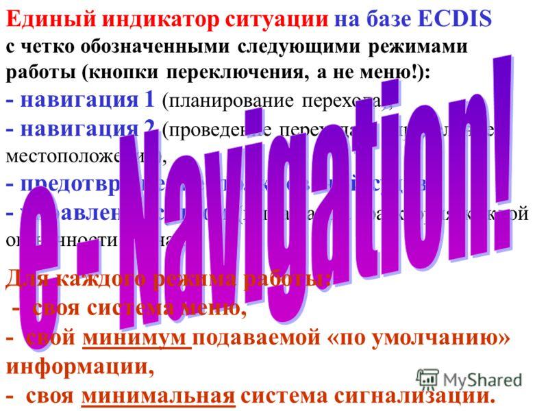 Единый индикатор ситуации на базе ECDIS с четко обозначенными следующими режимами работы (кнопки переключения, а не меню!): - навигация 1 (планирование перехода), - навигация 2 (проведение перехода и определение местоположения), - предотвращение стол