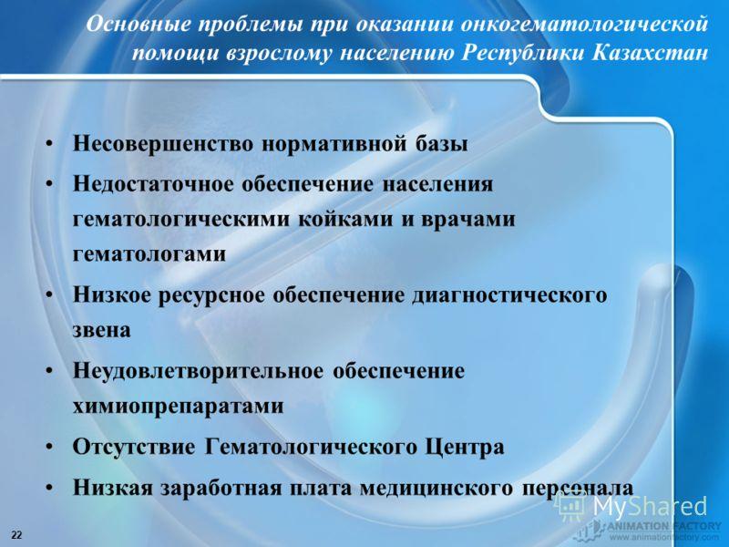 22 Основные проблемы при оказании онкогематологической помощи взрослому населению Республики Казахстан Несовершенство нормативной базы Недостаточное обеспечение населения гематологическими койками и врачами гематологами Низкое ресурсное обеспечение д