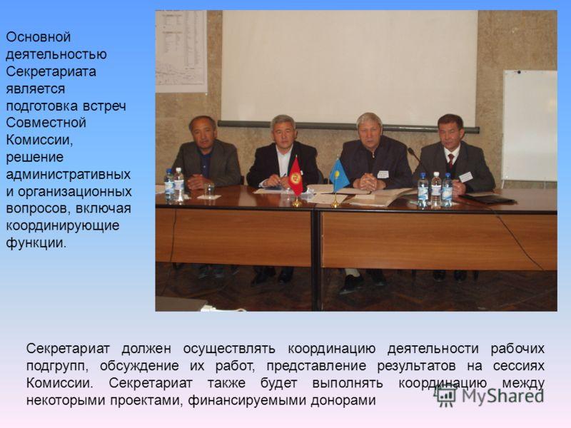 Секретариат должен осуществлять координацию деятельности рабочих подгрупп, обсуждение их работ, представление результатов на сессиях Комиссии. Секретариат также будет выполнять координацию между некоторыми проектами, финансируемыми донорами Основной