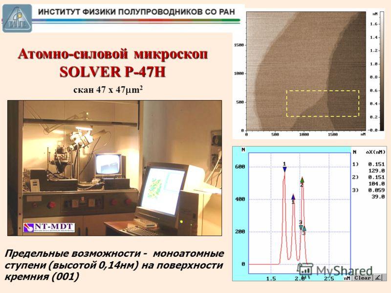 1 Атомно-силовой микроскоп SOLVER P-47H Предельные возможности - моноатомные ступени (высотой 0,14нм) на поверхности кремния (001) скан 47 x 47 m 2