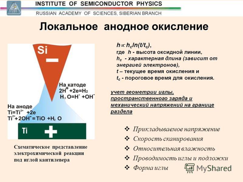 13 Локальное анодное окисление Схематическое представление электрохимической реакции под иглой кантилевера h h c ln(t/t c ), где h - высота оксидной линии, h c - характерная длина (зависит от энергией электронов), t – текущее время окисления и t c -