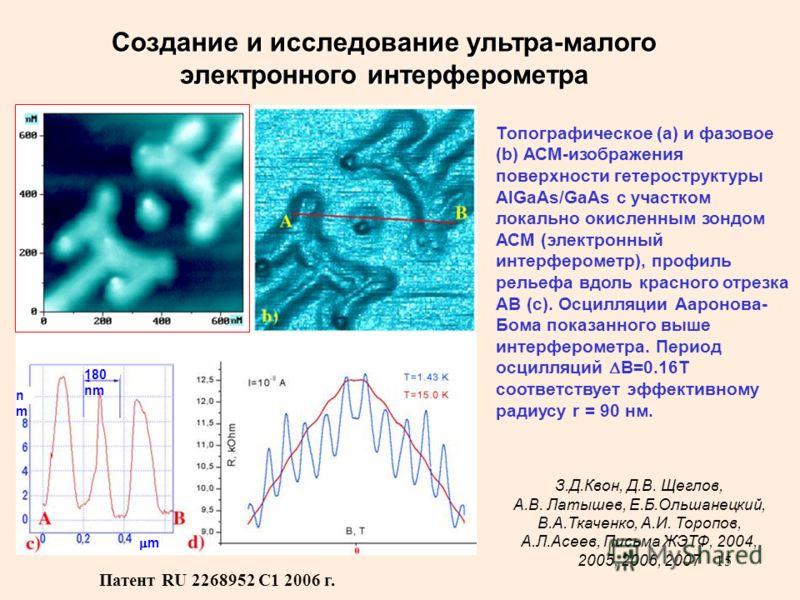 15 180 nm m nmnm m Создание и исследование ультра-малого электронного интерферометра З.Д.Квон, Д.В. Щеглов, А.В. Латышев, Е.Б.Ольшанецкий, В.А.Ткаченко, А.И. Торопов, А.Л.Асеев, Письма ЖЭТФ, 2004, 2005, 2006, 2007 Топографическое (а) и фазовое (b) АС