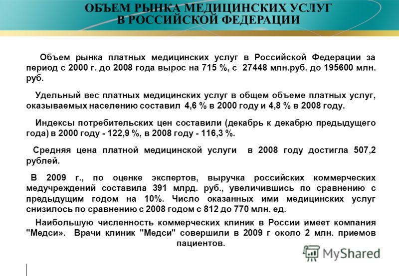 Объем рынка платных медицинских услуг в Российской Федерации за период с 2000 г. до 2008 года вырос на 715 %, с 27448 млн.руб. до 195600 млн. руб. Удельный вес платных медицинских услуг в общем объеме платных услуг, оказываемых населению составил 4,6