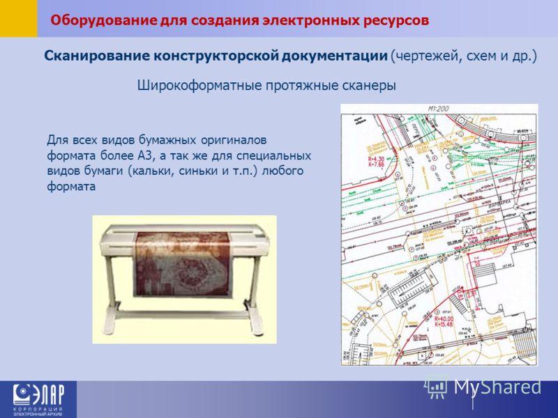 Сканирование конструкторской документации (чертежей, схем и др.) Для всех видов бумажных оригиналов формата более А3, а так же для специальных видов бумаги (кальки, синьки и т.п.) любого формата Широкоформатные протяжные сканеры Оборудование для созд