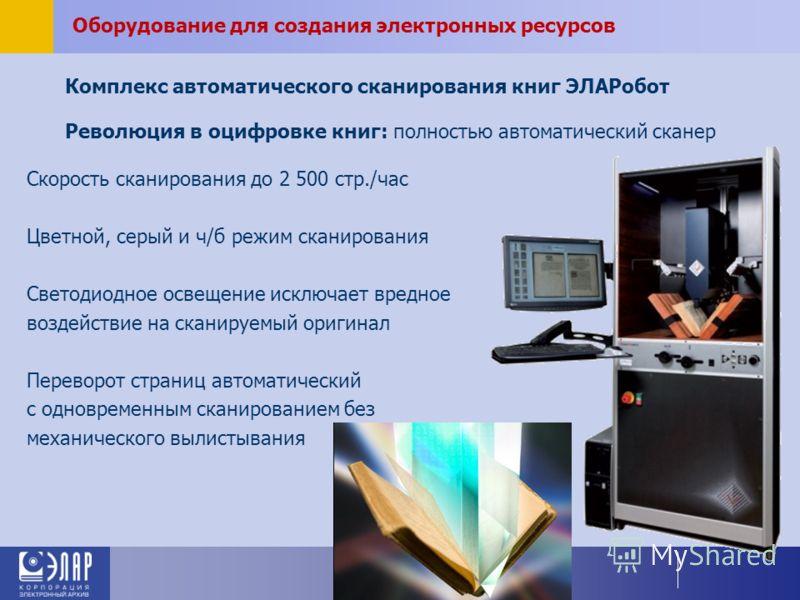 Комплекс автоматического сканирования книг ЭЛАРобот Оборудование для создания электронных ресурсов Революция в оцифровке книг: полностью автоматический сканер Скорость сканирования до 2 500 стр./час Цветной, серый и ч/б режим сканирования Светодиодно