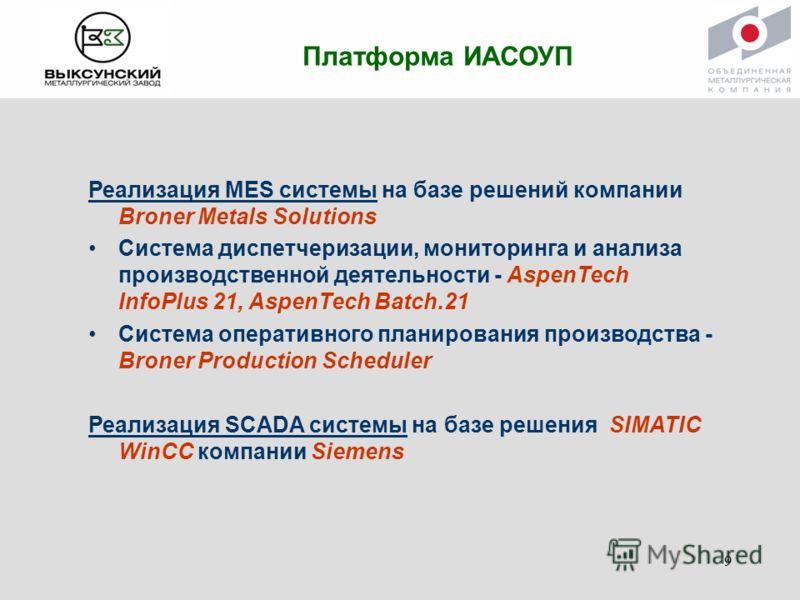 Платформа ИАСОУП Реализация MES системы на базе решений компании Broner Metals Solutions Система диспетчеризации, мониторинга и анализа производственной деятельности - AspenTech InfoPlus 21, AspenTech Batch.21 Система оперативного планирования произв