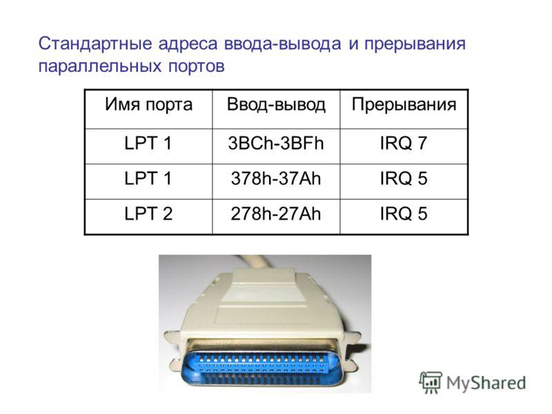 Стандартные адреса ввода-вывода и прерывания параллельных портов Имя портаВвод-выводПрерывания LPT 13BCh-3BFhIRQ 7 LPT 1378h-37AhIRQ 5 LPT 2278h-27AhIRQ 5