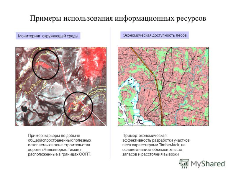 Примеры использования информационных ресурсов Мониторинг окружающей среды Пример: карьеры по добыче общераспространенных полезных ископаемых в зоне строительства дороги «Чиньяворык-Тиман», расположенные в границах ООПТ. Экономическая доступность лесо