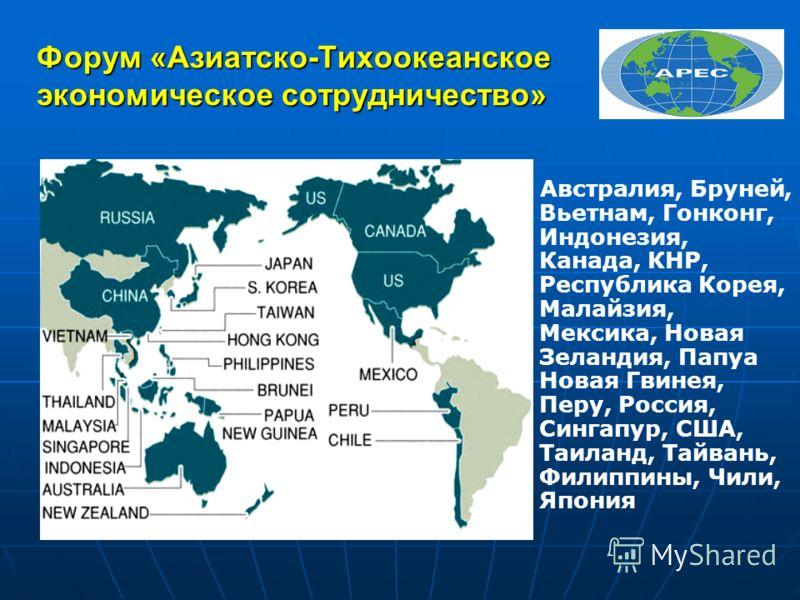 Форум «Азиатско-Тихоокеанское экономическое сотрудничество» Австралия, Бруней, Вьетнам, Гонконг, Индонезия, Канада, КНР, Республика Корея, Малайзия, Мексика, Новая Зеландия, Папуа Новая Гвинея, Перу, Россия, Сингапур, США, Таиланд, Тайвань, Филиппины