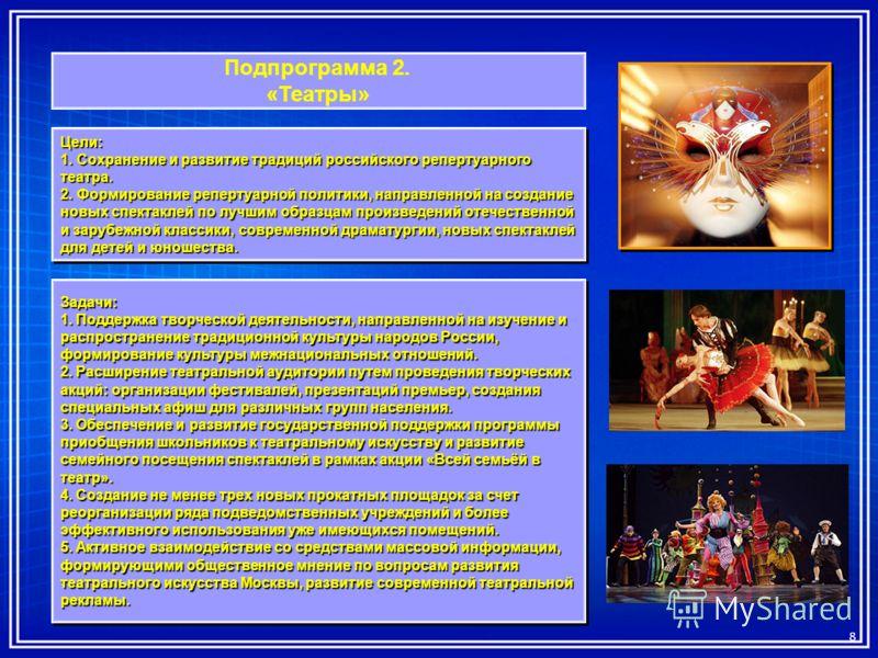 Подпрограмма 2. «Театры» Цели: 1. Сохранение и развитие традиций российского репертуарного театра. 2. Формирование репертуарной политики, направленной на создание новых спектаклей по лучшим образцам произведений отечественной и зарубежной классики, с