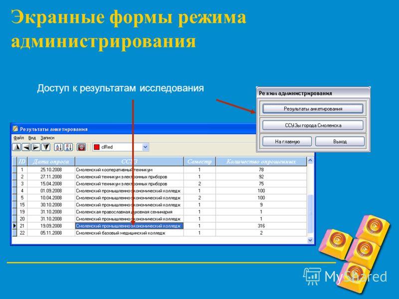 Экранные формы режима администрирования Доступ к результатам исследования