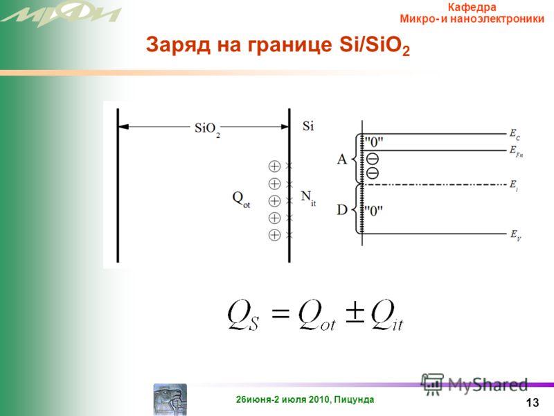 26июня-2 июля 2010, Пицунда Кафедра Микро- и наноэлектроники Природа положительного заряда в окисле (Eγ центра) 12