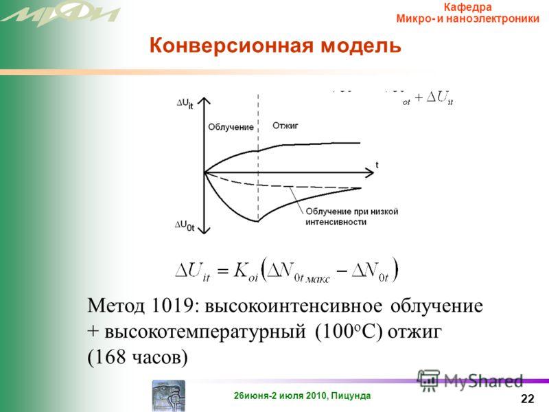 26июня-2 июля 2010, Пицунда Кафедра Микро- и наноэлектроники Конверсионная (инжекционная) модель 21 Изменение порогового напряжения при различных интенсивностях облучения (D=const)