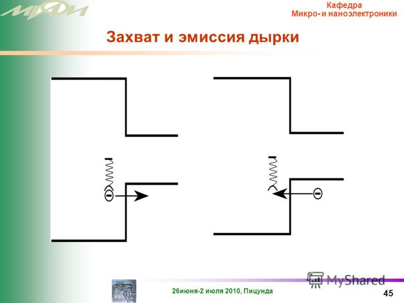 26июня-2 июля 2010, Пицунда Кафедра Микро- и наноэлектроники Захват и эмиссия электрона 44