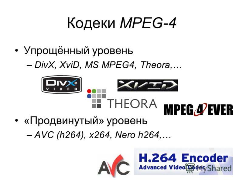 Кодеки MPEG-4 Упрощённый уровень –DivX, XviD, MS MPEG4, Theora,… «Продвинутый» уровень –AVC (h264), x264, Nero h264,…