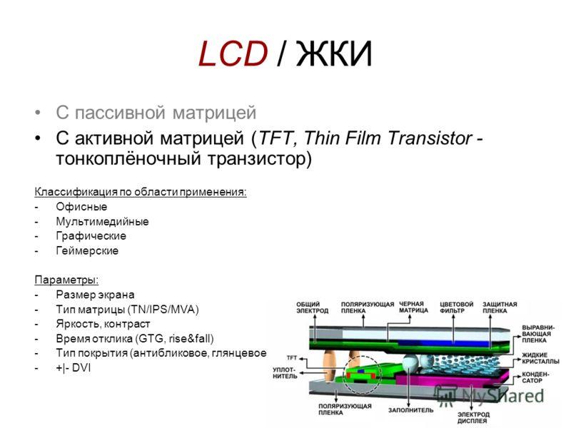 LCD / ЖКИ С пассивной матрицей С активной матрицей (TFT, Thin Film Transistor - тонкоплёночный транзистор) Классификация по области применения: -Офисные -Мультимедийные -Графические -Геймерские Параметры: -Размер экрана -Тип матрицы (TN/IPS/MVA) -Ярк