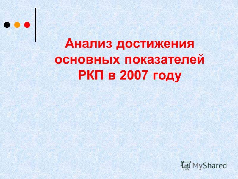 Анализ достижения основных показателей РКП в 2007 году