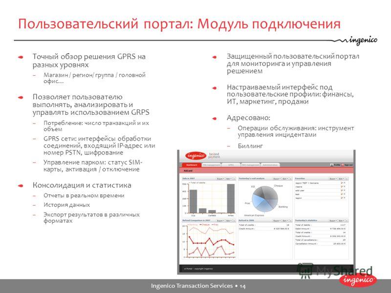 Ingenico Transaction Services 14 Пользовательский портал: Модуль подключения Точный обзор решения GPRS на разных уровнях –Магазин / регион/ группа / головной офис… Позволяет пользователю выполнять, анализировать и управлять использованием GRPS –Потре
