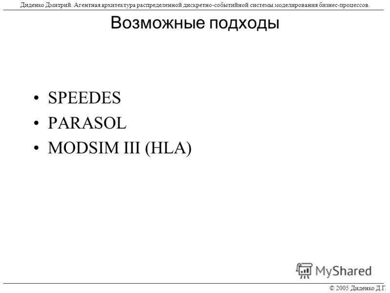 Возможные подходы SPEEDES PARASOL MODSIM III (HLA) © 2005 Диденко Д.Г. Диденко Дмитрий. Агентная архитектура распределенной дискретно-событийной системы моделирования бизнес-процессов.