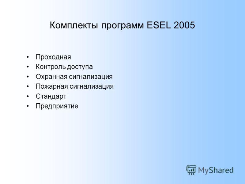 Комплекты программ ESEL 2005 Проходная Контроль доступа Охранная сигнализация Пожарная сигнализация Стандарт Предприятие