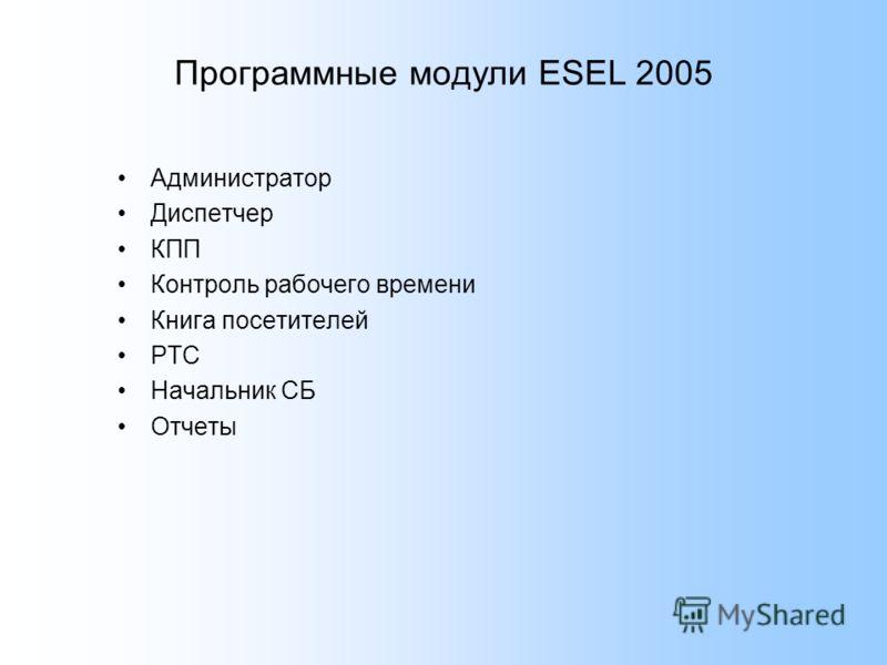 Программные модули ESEL 2005 Администратор Диспетчер КПП Контроль рабочего времени Книга посетителей РТС Начальник СБ Отчеты