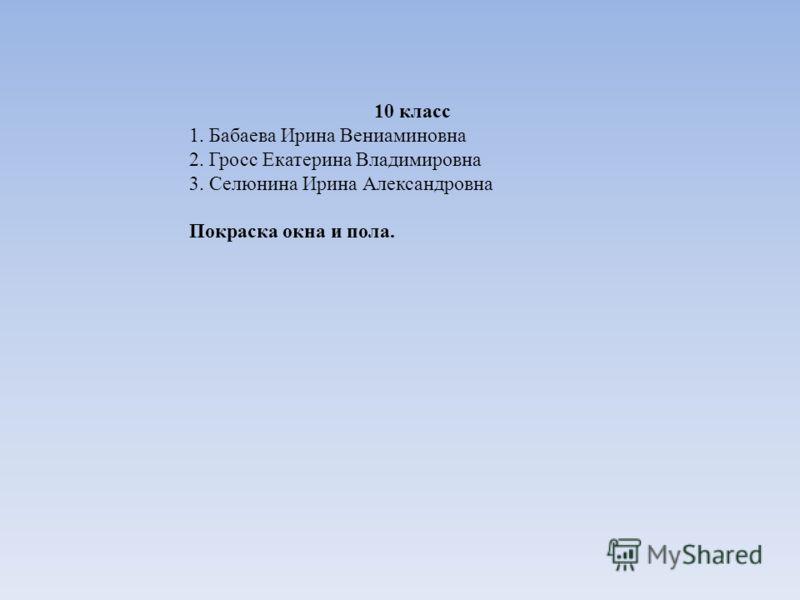 10 класс 1. Бабаева Ирина Вениаминовна 2. Гросс Екатерина Владимировна 3. Селюнина Ирина Александровна Покраска окна и пола.