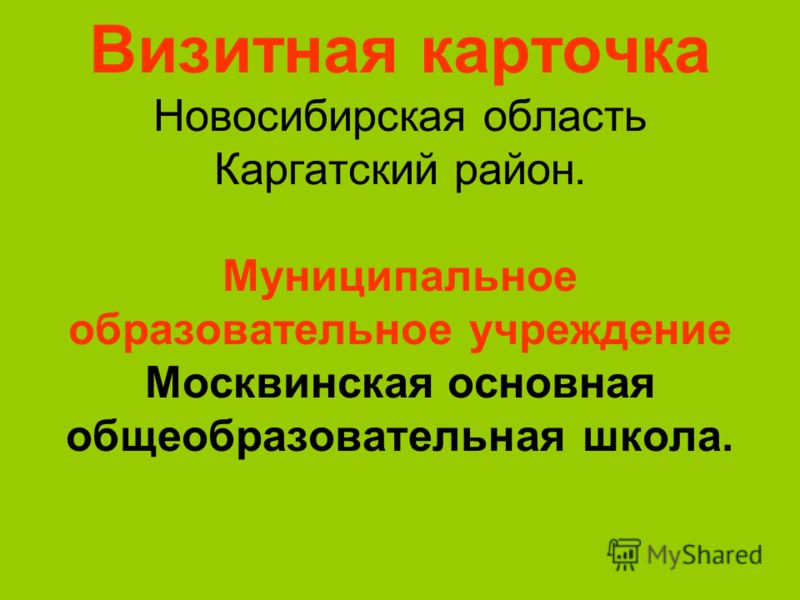 Визитная карточка Новосибирская область Каргатский район. Муниципальное образовательное учреждение Москвинская основная общеобразовательная школа.