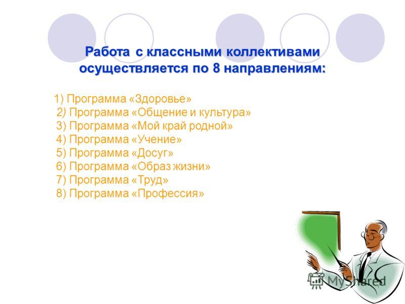 Работа с классными коллективами осуществляется по 8 направлениям: 1) Программа «Здоровье» 2) Программа «Общение и культура» 3) Программа «Мой край родной» 4) Программа «Учение» 5) Программа «Досуг» 6) Программа «Образ жизни» 7) Программа «Труд» 8) Пр