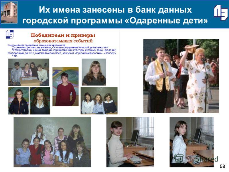 58 Их имена занесены в банк данных городской программы «Одаренные дети»