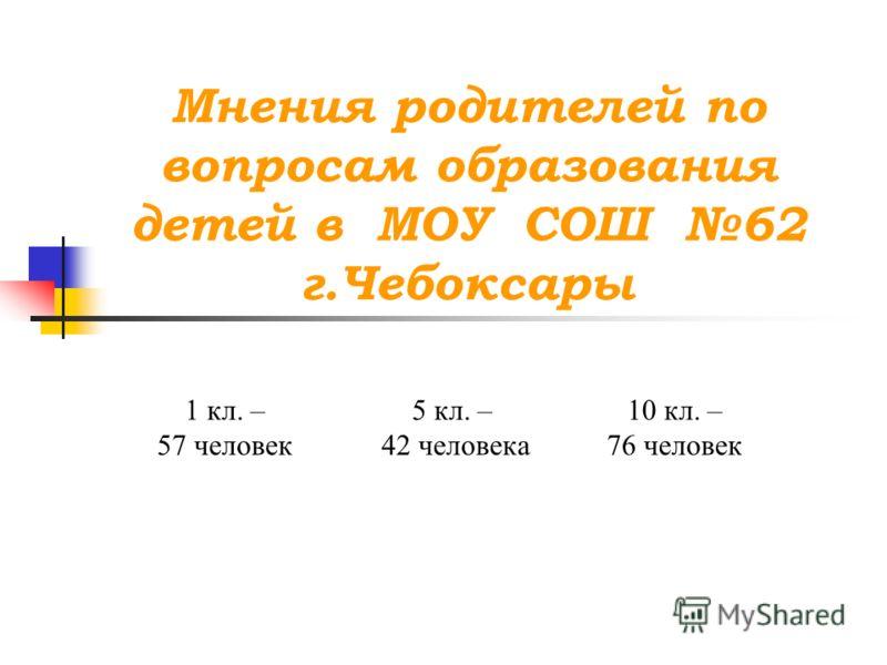 Мнения родителей по вопросам образования детей в МОУ СОШ 62 г.Чебоксары 1 кл. – 57 человек 5 кл. – 42 человека 10 кл. – 76 человек