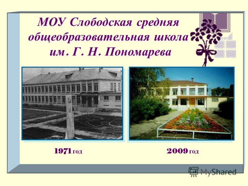 МОУ Слободская средняя общеобразовательная школа им. Г. Н. Пономарева 1971 год 2009 год