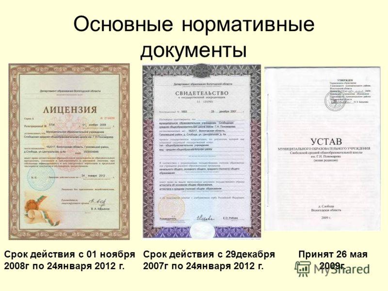 Основные нормативные документы Срок действия с 01 ноября 2008г по 24января 2012 г. Срок действия с 29декабря 2007г по 24января 2012 г. Принят 26 мая 2009г.