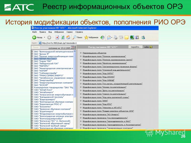 26 Реестр информационных объектов ОРЭ История модификации объектов, пополнения РИО ОРЭ