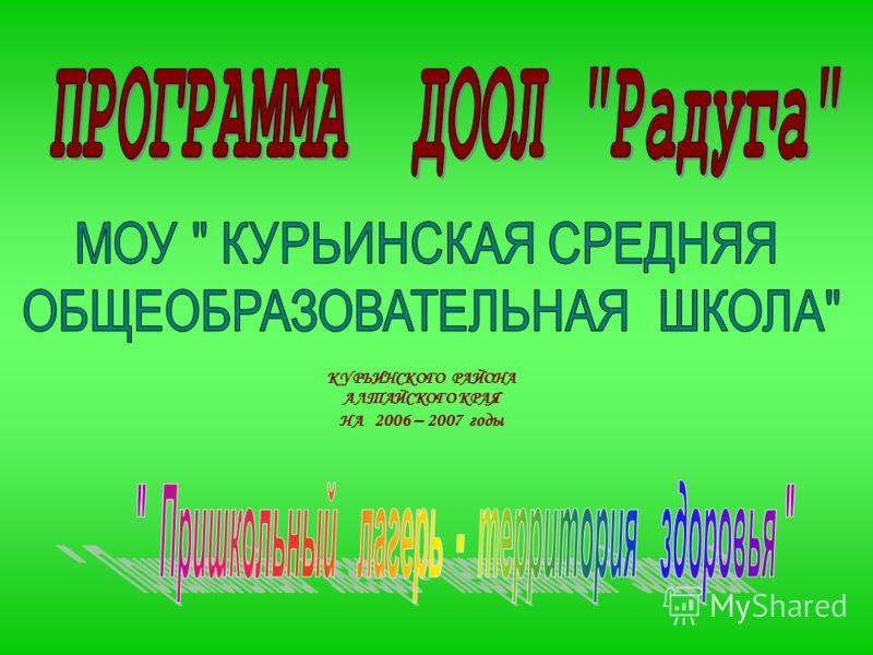КУРЬИНСКОГО РАЙОНА АЛТАЙСКОГО КРАЯ НА 2006 – 2007 годы