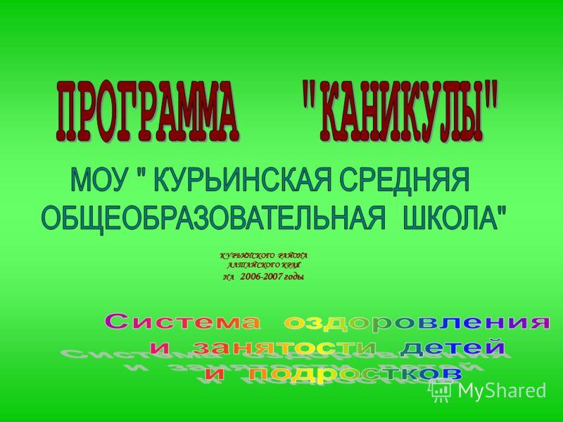 КУРЬИНСКОГО РАЙОНА АЛТАЙСКОГО КРАЯ НА 2006-2007 годы