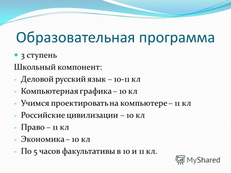 Образовательная программа 3 ступень Школьный компонент: - Деловой русский язык – 10-11 кл - Компьютерная графика – 10 кл - Учимся проектировать на компьютере – 11 кл - Российские цивилизации – 10 кл - Право – 11 кл - Экономика – 10 кл - По 5 часов фа