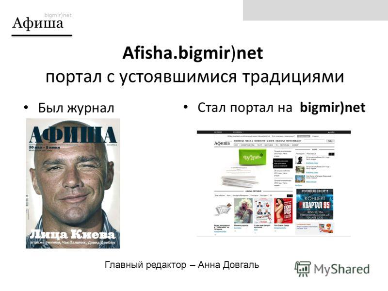 bigmir)net Афиша Был журнал Стал портал на bigmir)net Afisha.bigmir)net портал с устоявшимися традициями Главный редактор – Анна Довгаль
