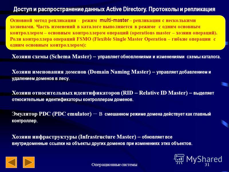 Операционные системы31 Доступ и распространение данных Active Directory. Протоколы и репликация Основной метод репликации - режим multi-master – репликация с несколькими хозяевами. Часть изменений в каталоге выполняется в режиме с одним основным конт