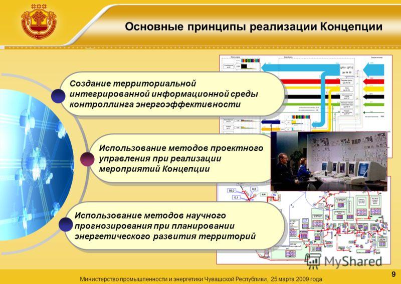 9 Основные принципы реализации Концепции Министерство промышленности и энергетики Чувашской Республики, 25 марта 2009 года Использование методов проектного управления при реализации мероприятий Концепции Создание территориальной интегрированной инфор