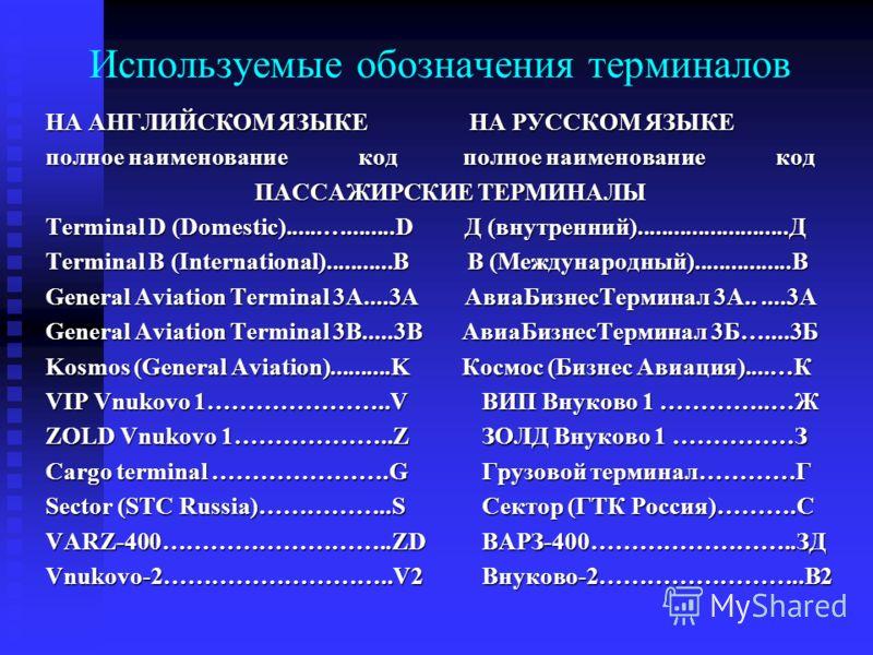 Используемые обозначения терминалов НА АНГЛИЙСКОМ ЯЗЫКЕ НА РУССКОМ ЯЗЫКЕ НА АНГЛИЙСКОМ ЯЗЫКЕ НА РУССКОМ ЯЗЫКЕ полное наименование код полное наименование код ПАССАЖИРСКИЕ ТЕРМИНАЛЫ ПАССАЖИРСКИЕ ТЕРМИНАЛЫ Terminal D (Domestic)......…........D Д (внутр
