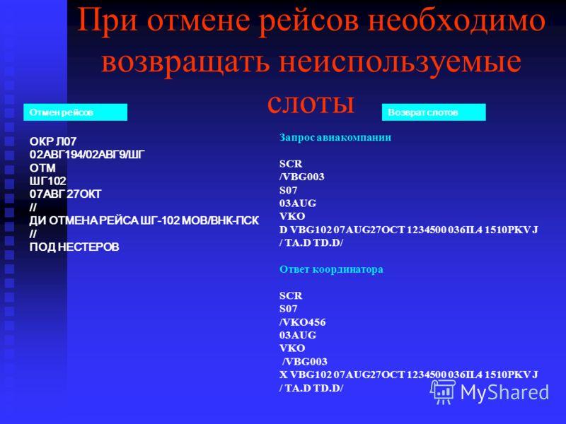 При отмене рейсов необходимо возвращать неиспользуемые слоты Запрос авиакомпании SCR /VBG003 S07 03AUG VKO D VBG102 07AUG27OCT 1234500 036IL4 1510PKV J / TA.D TD.D/ Ответ координатора SCR S07 /VKO456 03AUG VKO /VBG003 X VBG102 07AUG27OCT 1234500 036I