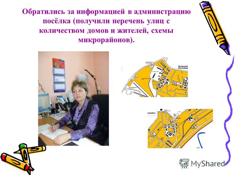 Обратились за информацией в администрацию посёлка (получили перечень улиц с количеством домов и жителей, схемы микрорайонов).