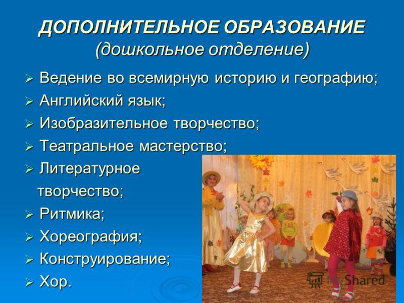 ДОПОЛНИТЕЛЬНОЕ ОБРАЗОВАНИЕ (дошкольное отделение) Ведение во всемирную историю и географию; Ведение во всемирную историю и географию; Английский язык; Английский язык; Изобразительное творчество; Изобразительное творчество; Театральное мастерство; Те