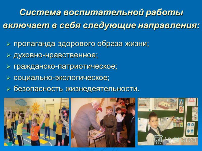 Система воспитательной работы включает в себя следующие направления: пропаганда здорового образа жизни; пропаганда здорового образа жизни; духовно-нравственное; духовно-нравственное; гражданско-патриотическое; гражданско-патриотическое; социально-эко