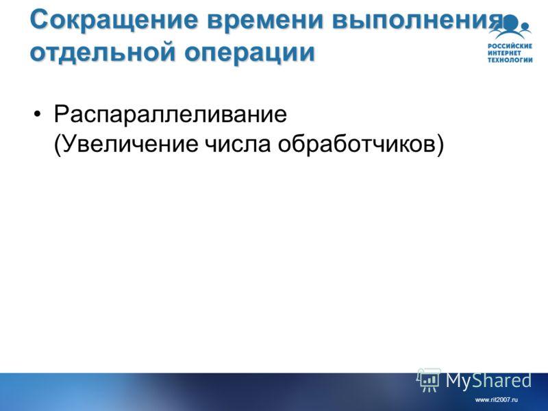 www.rit2007.ru Сокращение времени выполнения отдельной операции Распараллеливание (Увеличение числа обработчиков)