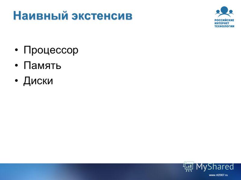www.rit2007.ru Наивный экстенсив Процессор Память Диски