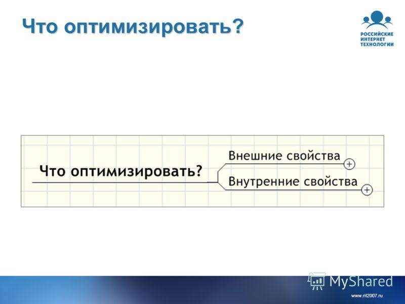 www.rit2007.ru Что оптимизировать?