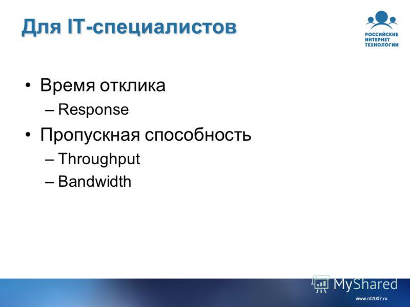 www.rit2007.ru Для IT-специалистов Время отклика –Response Пропускная способность –Throughput –Bandwidth